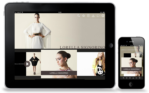 Application Lorella Signorino - Fashion Catalogue for iPhone and iPad - Application developed on Paperfly platform with the addition of fully customized graphic interface.