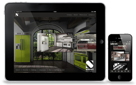 App Steel Kitchens - Catalog of Industrial Modular Kitchens for iPhone and iPad - Application with horizontal scrolling graphics and standard functionality of the Paperfly platform.